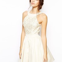 Chi Chi London Prom Lace Dress with Halter Neck