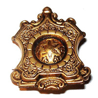 """Victorian Watch Fob Pin Brooch Gold Metal Taille d' Epargné Belt Clip 1.5"""" Vintage"""