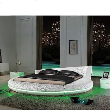 Creative Round Bed with LED Lights