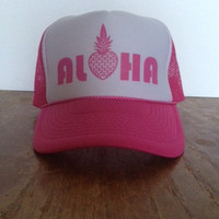 NOMAD Aloha with Pineapple Trucker Hat Pink