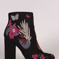 Bamboo Embroidered Floral Suede Chunky Heeled Booties