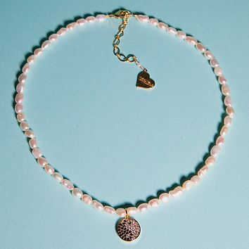 Pearl Sparkly Yin Yang Necklace