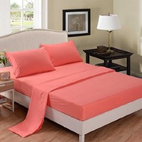 Honeymoon 1800 Brushed Microfiber Embroidered Bed Sheet Set, Ultra Soft, Full - Coral