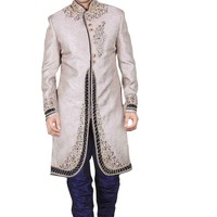 Traditional Silver Color Brocade Silk Indian Wedding Sherwani For Men Buy Only
