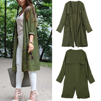Olive Green Draped Open Front Cardigan with V-Cut Details
