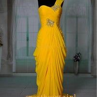 Beaded One-Shoulder Chiffon Yellow Floor Length Ruched Prom Dresses Evening Dress