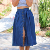 Button Front Denim Midi Skirt with Side Pocket