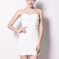 White Ruched Low Cut Back Mini Bodycon Dress