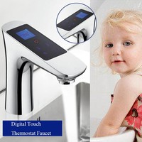 Deck Mounted LCD Digital Display Faucet Touch Screen Thermostatic
