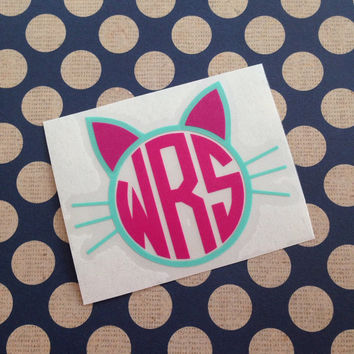 Kitty Cat Decal With Monogram | Cat Decal | Personalized Cat Monogram | Cat Lover Decal | Vinyl Decal |
