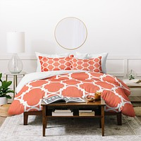 Rebecca Allen Pillow Talk Coral Duvet Cover