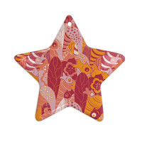 """Akwaflorell """"Fishes Here, Fishes There 3"""" Pink Orange Ceramic Star Ornament"""
