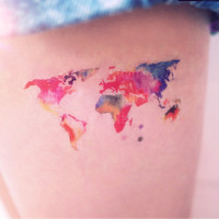 2pcs Watercolor World Map tattoo - InknArt Temporary Tattoo - wrist quote tattoo body sticker fake tattoo wedding tattoo small tattoo