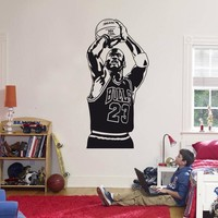 2016 New design Michael Jordan Wall Sticker Vinyl DIY home decor Basketball Player Decals Sport Star for kids room free shipping