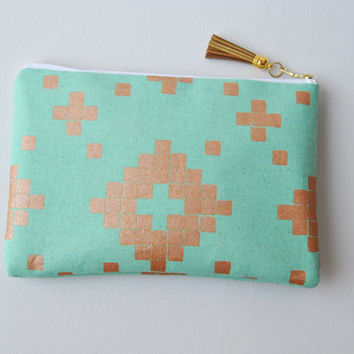 Mint and gold pouch, aztec zipper pouch, everyday casual clutch, gold leather clutch, southwest zipper pouch, iPad sleeve, kindle case