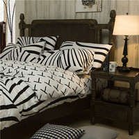 Black White Zebra Knit Cotton Bedding Duvet Cover Sets King & Queen Size with Fitted Sheet
