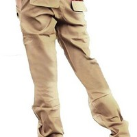 Mens Long Cargo Pants Stylish Jeans Straight Slim Fit Casual Trousers