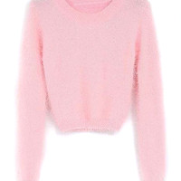 Pink Mohair Cropped Sweater
