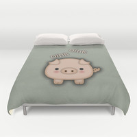 Cute Pink Pig Oink Duvet Cover by Tees2go