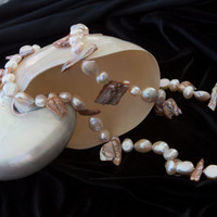 Long pearl necklace genuine big white shiny baroque pearls seashell hippie ethno nature