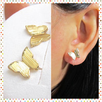 Invisible Clip on earring | Non Pierced Earring | C46S| Gold Butterfly Studs | Butterfly clip on earrings | Magnetic Earring Substitute