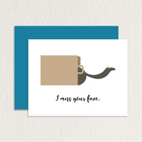 I Miss Your Face Cat in Bag Printable Greeting Card A2