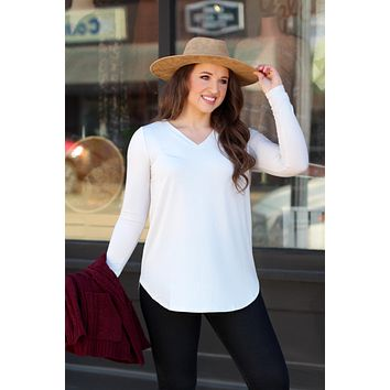 {Bone} Best Basic V-neck Long Sleeve Tunic Top