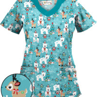 UA Antarctic Christmas Amazing Aqua Print Scrub Top | Holiday Scrubs