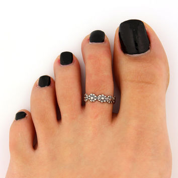 toe ring sterling silver toe ring flower design adjustable toe ring (T-64) Also knuckle ring