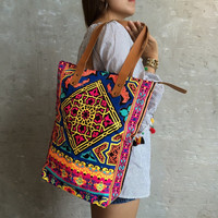 Navy Pink Tile style Beach bag / Gift for her / Neon Bag / Orange bag / Beach totes / Boho tote Summer / Bachelor Party