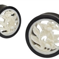 Intricate Carved Horn & Bone Flower Hollow Double Flared Plugs
