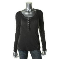 Free People Womens Lace Trim Long Sleeves Henley Top