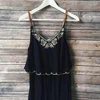 Robin Embroidered Belt Strap Romper (Navy)