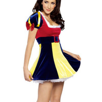3 Pcs Women Snow White Princess Costume Cosplay Costume Halloween Carnival Party Dress Women Adult Snow White Costumes S M L XL
