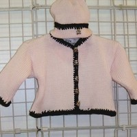 Ck601, Knitted on Hand Knitting Machine Baby Pink Cotton Hand Crochet with Dark Brown Chenille Trim Girls Cardigan, Hat Set Trimmed with Antique Brass Teddy Bear Buttons