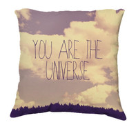 "Throw Pillow-Home Decor- ""You Are The Universe"" 18 x 18 Pillow-Typography--Pink & Purple-Home Decor-"