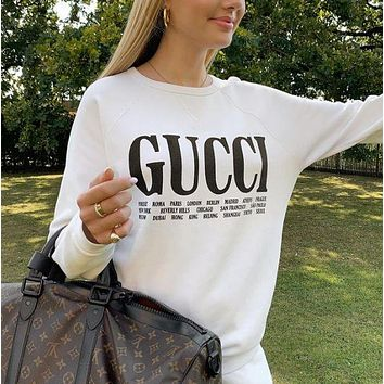 GUCCI Printed Letter Long Sleeve Round Neck Sweatshirt
