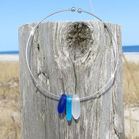 Sea Glass Ombre Cobalt Blue Caribbbean Blue and White Skinny Bangle by Wave of Life