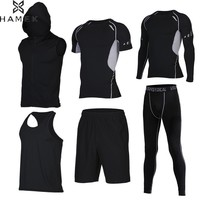 Hot Men's Running Sets 6pcs/set Compression Quick Dry Sports Suits Basketball Tights Workout Gym Fitness Kits Jogging Sportswear