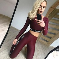2019 Workout Tracksuit For Women Two Pieces Fitness Clothing Dance Gym Sportswear Running leggings Sport Suits Female Yoga Sets