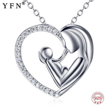 Real 925 Sterling Silver Mother Love Necklace Mother & Child Love Heart Pendants Necklaces Mother's Day Gift Fahsion Jewelry