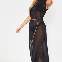 Black High Neck Oversized Maxi Beach Dress