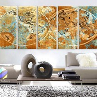 """XLARGE 30""""x 70"""" 5 Panels 30""""x14"""" Ea Art Canvas Print World Map Watercolor Old Vintage Rustic Wall Decor Home Office Interior(framed 1.5"""" Depth)"""