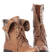 Camel Faux Leather Fold Over Plaid Print Chunky Combat Boots