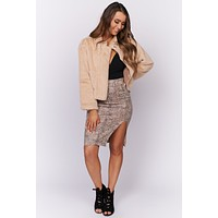 Chic In The City Faux Fur Jacket (Beige)