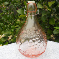 Casadis Milano Pink Bottle Wine Decanter w/ Stopper Made In Italy