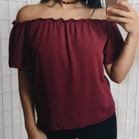 Hailee Off The Shoulder Top (Burgundy)