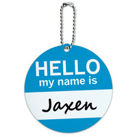 Jaxen Hello My Name Is Round ID Card Luggage Tag
