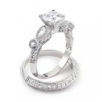 Bling Jewelry Vintage Wedding Engagement Ring Set Round 2-ct CZ Teardrop Sidestones Sterling Silver - Size 7