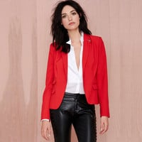 Red Collared Long Sleeve Blazer